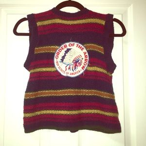 Vintage knitted vest with hand sewn patches